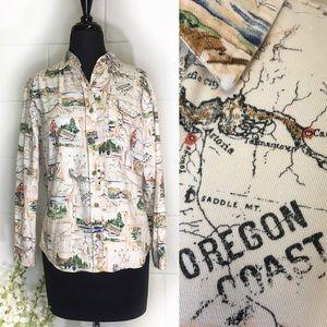 Women's Pendleton Oregon Coast Print Flannel Shirt